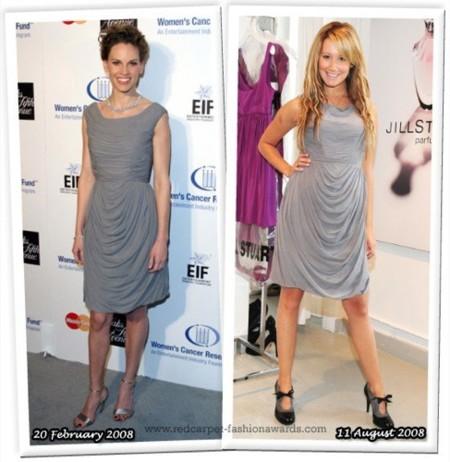 Vestido de Jill Stuart: ¿Hilary Swank o  Ashley Tisdale?