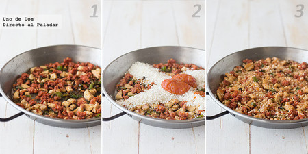 Receta de arroz meloso con pollo y chistorra paso a paso