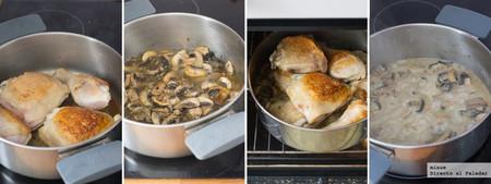Pollo con salsa de champiñones