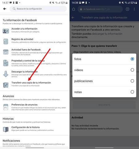 Facebook Transferir Contenido