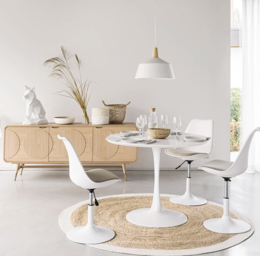 Mesa de comedor redonda blanca Circle  D. 100 cm