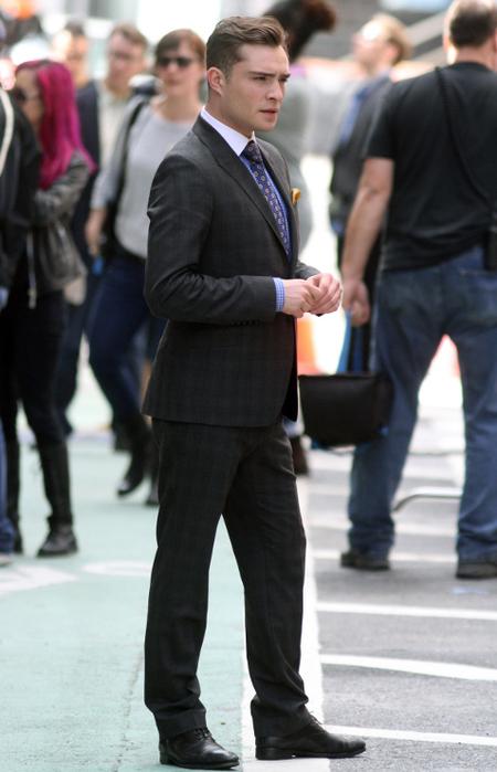 Chuck Bass Ed Westwick Grey Suit