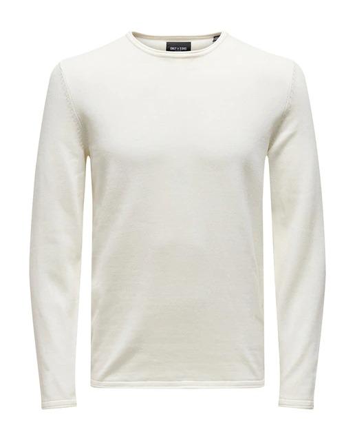 Jersey de punto en color blanco. Tiene cuello caja y parche de la firma en la parte inferior de la prenda.