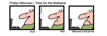 Geek & Poke, problemas el viernes con Git