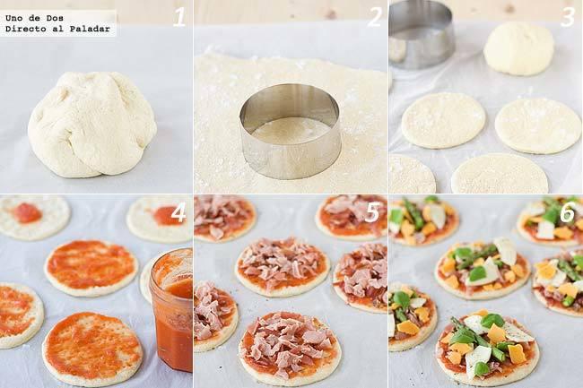 Mini pizzas de jamón y trigueros paso a paso
