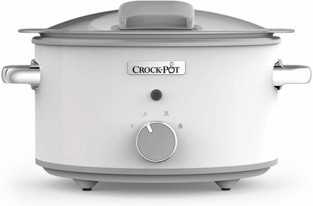 Crock-Pot DuraCeramic CSC038X Olla de Cocción Lenta Manual, 4.5 litros, Acero Inoxidable, Blanco