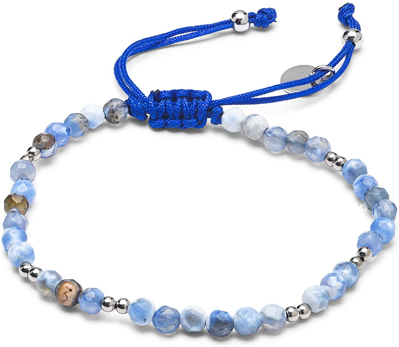 LUXENTER Pulsera Suly Metal Plateado y ágata Azul