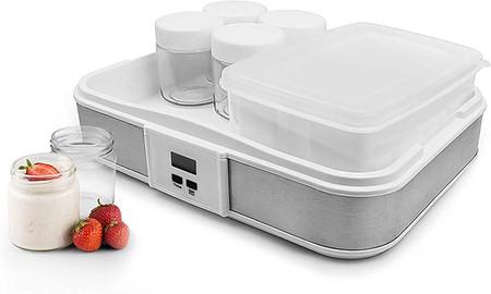 Todeco Yogurtera Maquina Para Hacer Yogur Casero Capacidad Por Frasco 0 21 L Potencia 21 5 W Tazon De Yogur Con Colador Y 6 Tazas Con Temporizador 30 6 X 25 X 12 4 Cm Blanco