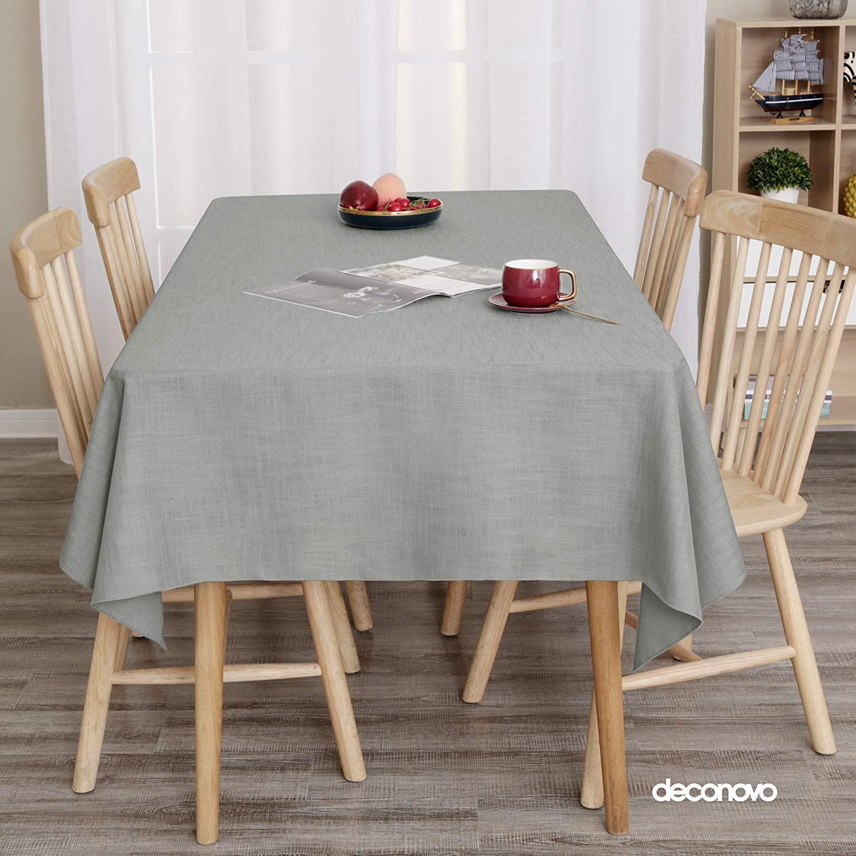 Deconovo Manteles Mesa Cocina Jacquard Mantel Impermeable Antimanchas Moderno 130 x 280 cm Gris