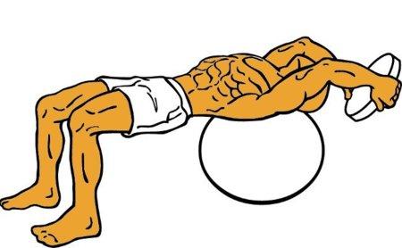 Pull-over sobre fitball para un trabajo más completo e intenso