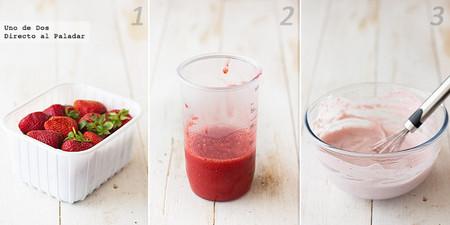 Crema ligera de fresas, mascarpone y yogur griego. Receta paso a paso