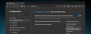 Cómo cambiar el motor de búsqueda en Microsoft Edge