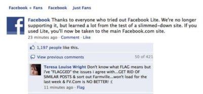 Facebook abandona su versión Lite