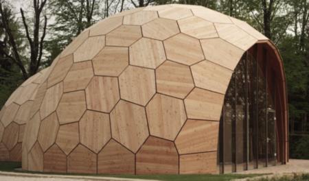Un edificio con forma de cacahuete, diseñado con algoritmos y paneles de madera