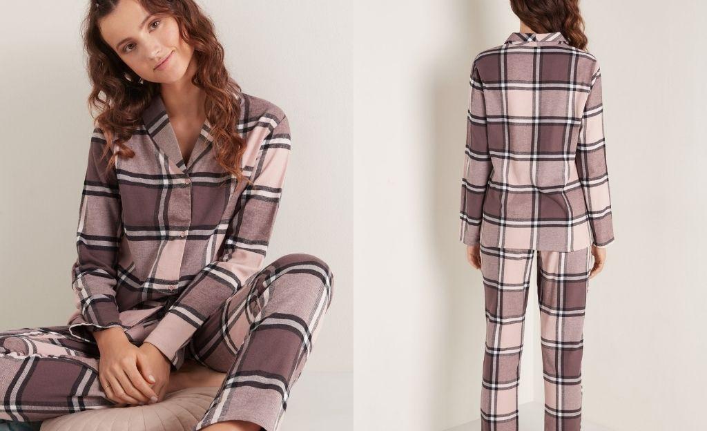 Pijama largo abierto con corte masculino de franela de algodón
