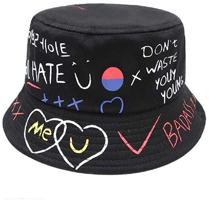 youler Sombrero Pescador, Soft Cotton Sun Cap Creative Graffiti Plegable Bucket Hat Adecuado para Viajes de Pesca al Aire Libre (Negro)