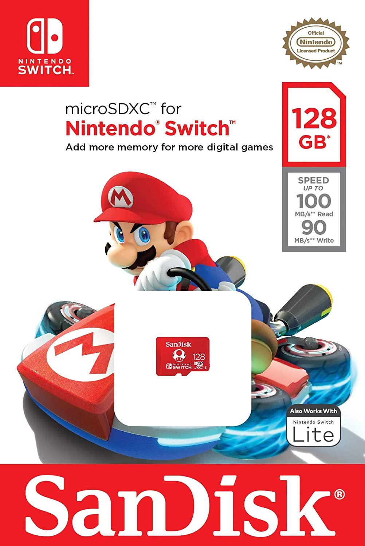 Memoria microSD SanDisk para Nintendo Switch de 128Gb - U3 C10 Máx. 100/90Mb/S Lec/Esc