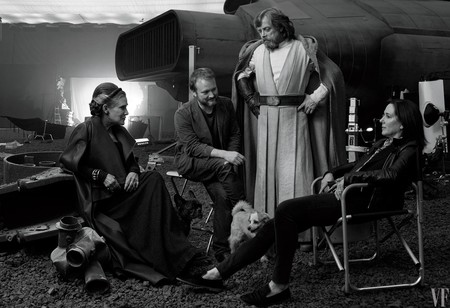 Rian Johnson con Kathleen Kennedy, Carrie Fisher y Mark Hamill