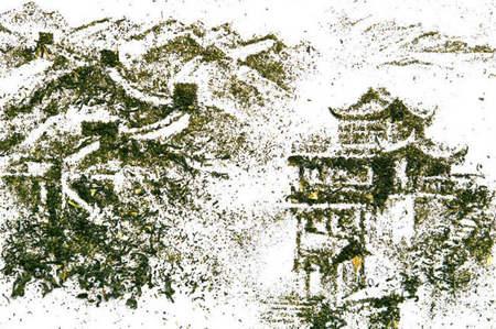 Ilustraciones elaboradas con hojas de té