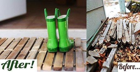 Antes y después: una alfombrilla hecha con viejos listones de madera