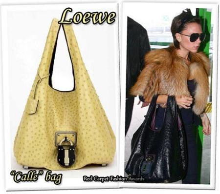 Victoria Beckham con un bolso de Loewe