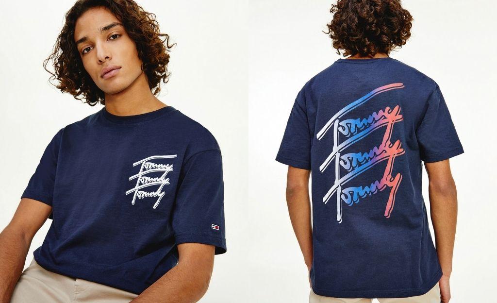 Camiseta de hombre en algodón orgánico azul marino de manga corta