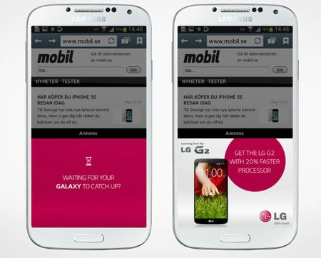 La publicidad de LG reconoce tu celular para compararlo con el G2