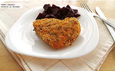 Pollo empanizado al horno con mostaza