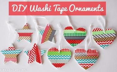 Decoraciones fáciles de Navidad para hacer con niños usando washi tape