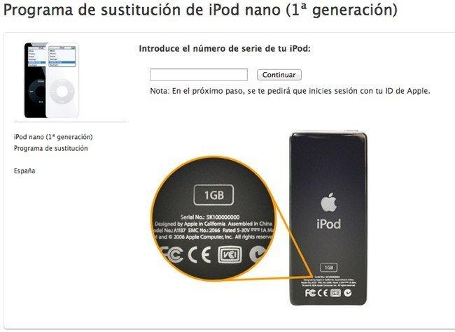 Programa de sustitución de los iPod nano defectuosos de 1ª generación