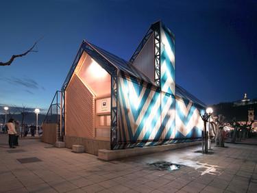 ¿Un pabellón hecho con bancos que luego se transformará en mobiliario público? ¡Es posible!