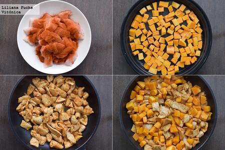 Salteado de pollo al pimentón con calabaza. Receta saludable. Pasos