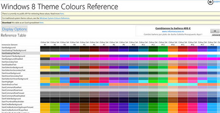 Tabla de referencia de colores para Windows System y Windows 8
