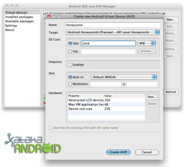 create avd sdk android