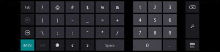 Teclado táctil numérico de Windows 8