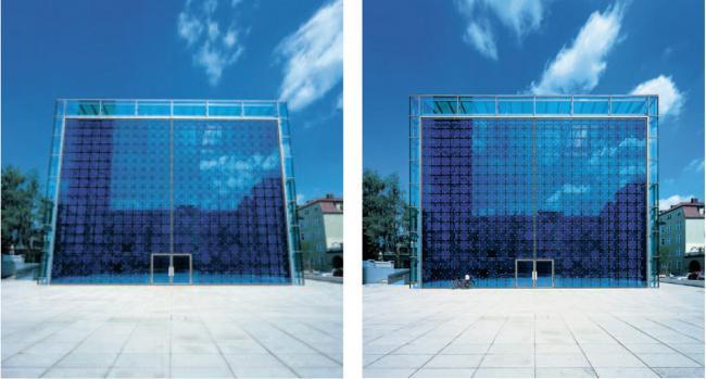 Objetivo sin corrección de perspectiva · Objetivo con corrección de perspectiva