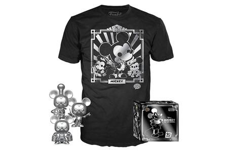 Esta edición especial de tres figuras Funko y playera de Mickey Mouse está en 525 pesos, su precio más bajo a la fecha