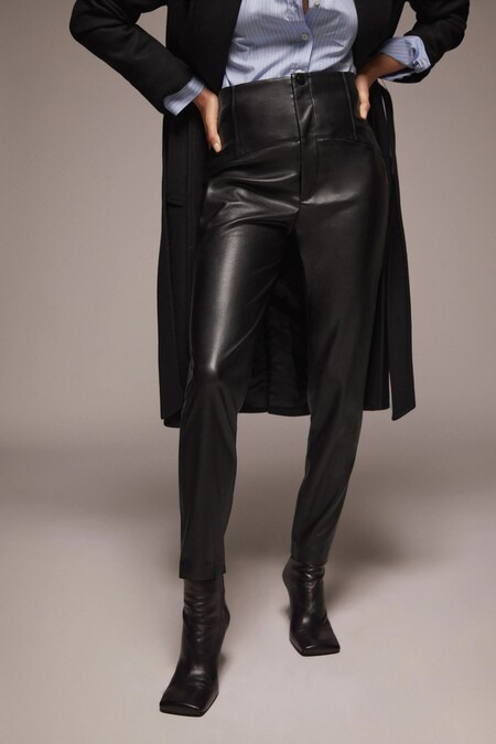 Zara Pantalones Piel Tiro Alto
