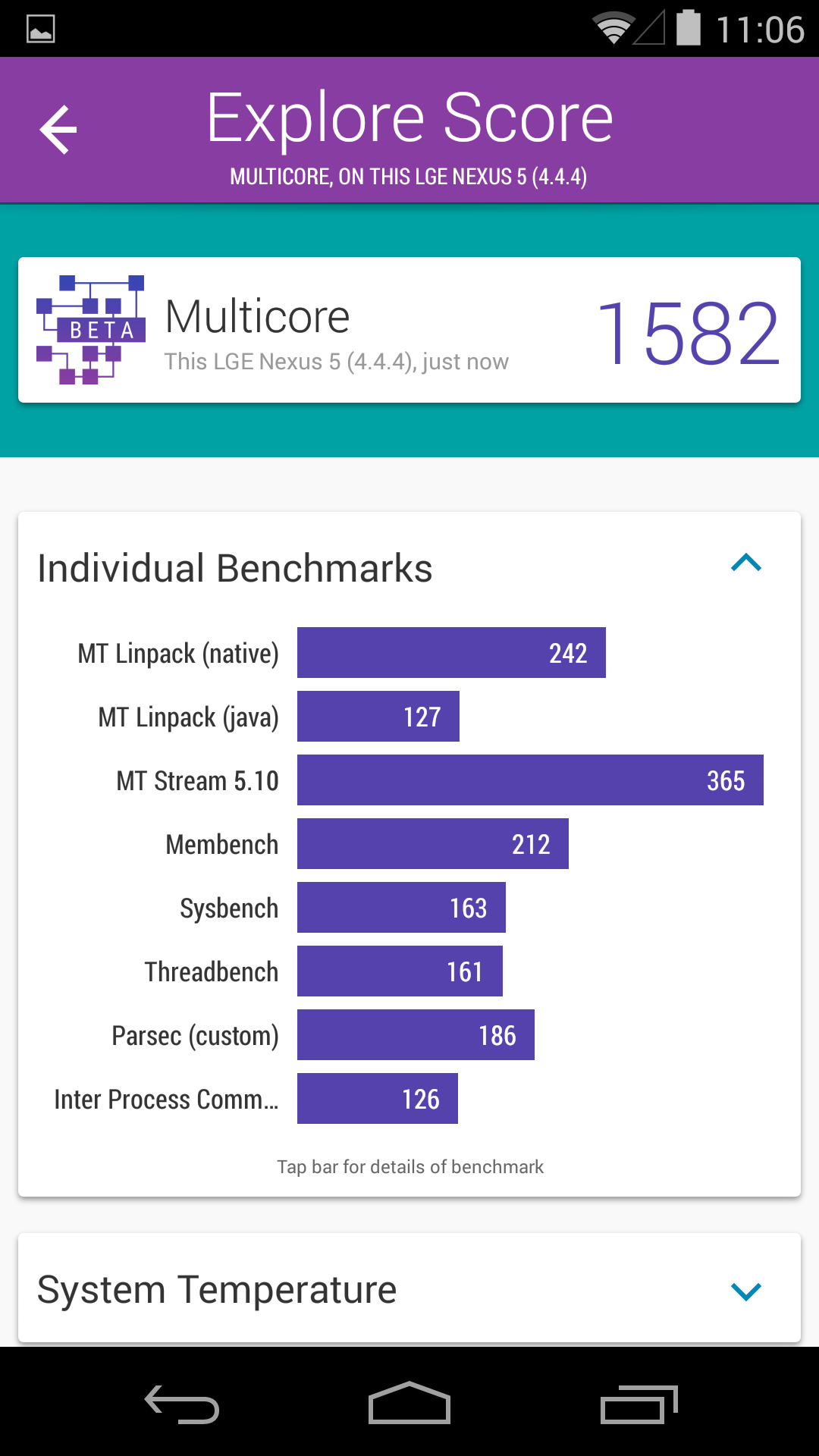 Benchmarks Nexus 5 Android 4.4.4