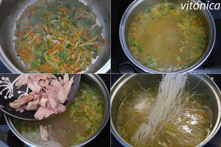 Sopa de Pollo y Fideos. Pasos