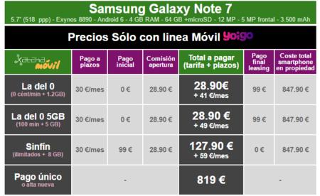 Precios Samsung Galaxy Note7 Con Tarifas Yoigo