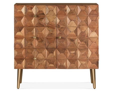 Cult Living Bordeaux Geometric Small Sideboard Natural Wood And Brass