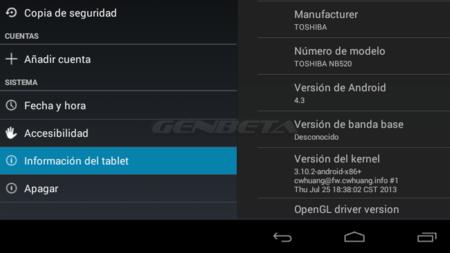 Android-x86 4.3 instalada en netbook