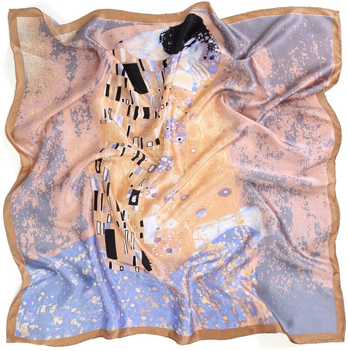 prettystern Chal foulard de seda con impresión de arte Art Nouveau Gustav Klimt 90cm cuadrado