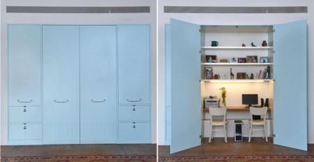 Zona de trabajo oculta en un armario