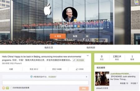 Tim Cook se acerca más a los usuarios de china, ahora con su nueva cuenta en Weibo