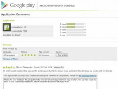 Google ya permite a todos los desarrolladores responder a los comentarios de Google Play