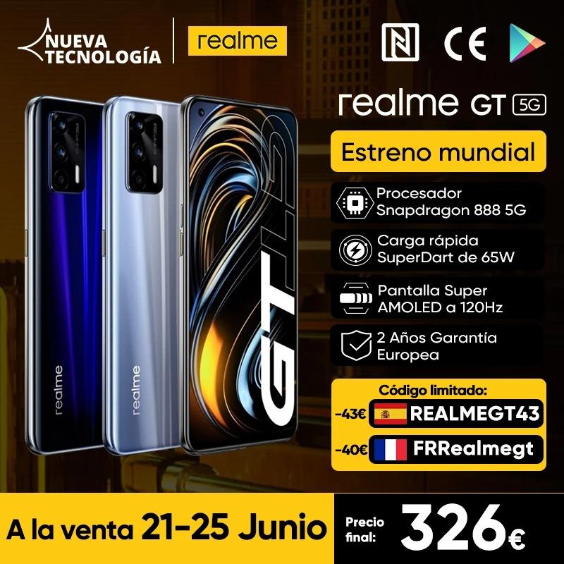 """Realme GT 5G Estreno mundial el 6.20, Versión Global, 8GB+128GB, Snapdragon 888, 6,43 """", 120Hz AMOLED, Cámaras traseras triples de 64MP, Batería de 4500 mAh con cargador de la UE de 65 W"""