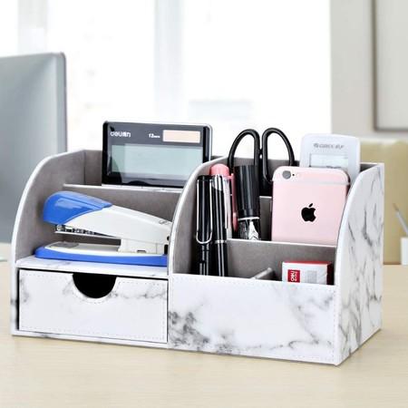 GORESE - Organizador de escritorio (piel sintética), diseño de mármol, color blanco (Marble)