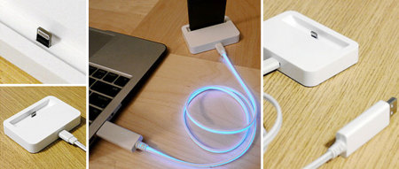 Base Dock y cable con conector Lightning